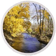 Valley Forge Creek In Autumn Round Beach Towel
