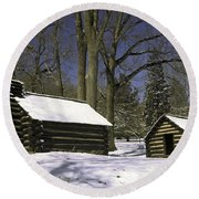 Valley Forge Winter Round Beach Towel
