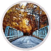 Valley Green Road Bridge In Autumn Round Beach Towel by Bill Cannon