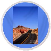 Valley Of Fire Road And Sky Nevada Round Beach Towel