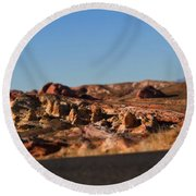 Valley Of Fire Winding Road Round Beach Towel