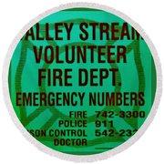 Valley Stream Fire Department In Irish Green Round Beach Towel