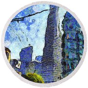 Van Gogh Sips Absinthe And Takes In The Views From North Beach In San Francisco . 7d7431 Round Beach Towel