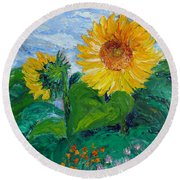 Van Gogh Sunflowers Round Beach Towel