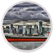 Vancouver Freighter Hdr Round Beach Towel