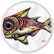 Variegated Red Fish In Stipple Round Beach Towel