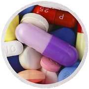 Variety Of Pills Round Beach Towel
