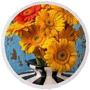 Vase With Gerbera Daisies  Round Beach Towel