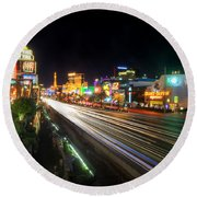 Vegas Light Trails Round Beach Towel