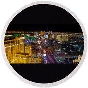 Vegas Strip At Night Round Beach Towel