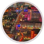 Vegas Strip Round Beach Towel
