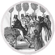 Velocipede, 1827 Round Beach Towel