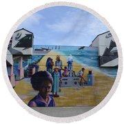 Venice Beach Wall Art 4 Round Beach Towel