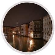 Venice By Night Round Beach Towel by Joana Kruse