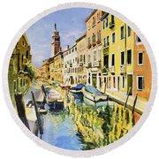 Venice Canal Round Beach Towel