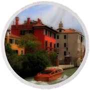 Venice Canals 7 Round Beach Towel