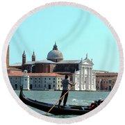 Venice From A Gandola Round Beach Towel