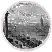 Venice: Grand Canal, 1875 Round Beach Towel