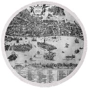 Venice: Map, C1566 Round Beach Towel
