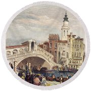 Venice: Rialto, 1833 Round Beach Towel