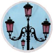 Venitian Lamp Posts Venice Italy Round Beach Towel