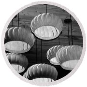 Vented Lights In Black And White Round Beach Towel