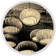 Vented Lights In Sepia Round Beach Towel