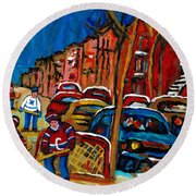 Verdun Rowhouses With Hockey - Paintings Of Verdun Montreal Street Scenes In Winter Round Beach Towel