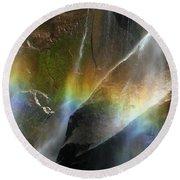 Vernal Falls Rainbow At Yosemite Round Beach Towel