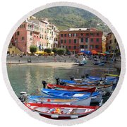 Vernazza's Harbor Round Beach Towel