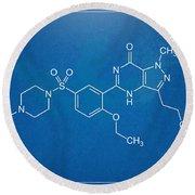 Viagra Molecular Structure Blueprint Round Beach Towel