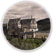 Vianden Castle - Luxembourg Round Beach Towel by Juergen Weiss