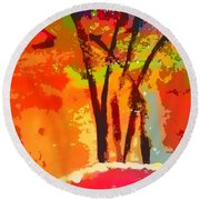 Vibrant Bouquet Round Beach Towel