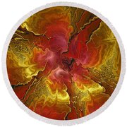 Vibrant Red And Gold Round Beach Towel