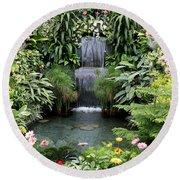 Victorian Garden Waterfall - Digital Art Round Beach Towel
