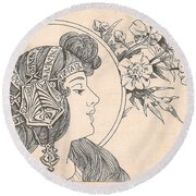 Victorian Lady - 3 Round Beach Towel
