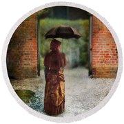 Victorian Lady By Brick Archway Round Beach Towel