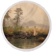 Victorian Lady By Row Boat Round Beach Towel