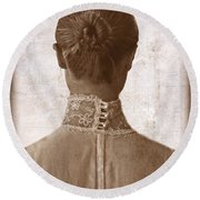 Victorian Lady From Behind Round Beach Towel