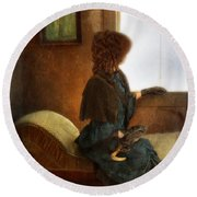 Victorian Lady Gazing Out The Window Round Beach Towel
