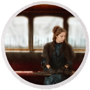 Victorian Lady On Street Car Round Beach Towel