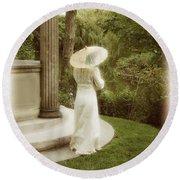 Victorian Woman In Garden With Parasol Round Beach Towel
