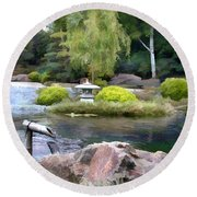View Across The Pond Round Beach Towel