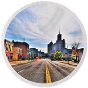 View Down Broadway Into Downtown Buffalo Ny Round Beach Towel