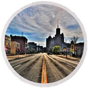 View Down Broadway Into Downtown Buffalo Ny Vert Round Beach Towel
