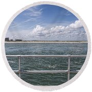 View From Across The Bay Round Beach Towel