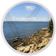 View From Bass Harbor Light Round Beach Towel