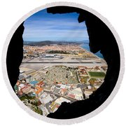View From Inside Of The Gibraltar Rock Round Beach Towel