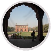 View From Inside The Red Fort With Tourist Round Beach Towel