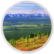 View From Ogilvie Ridge Lookout Round Beach Towel